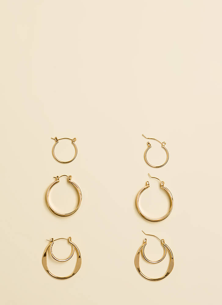 Hoop There It Is Earring Trio GOLD