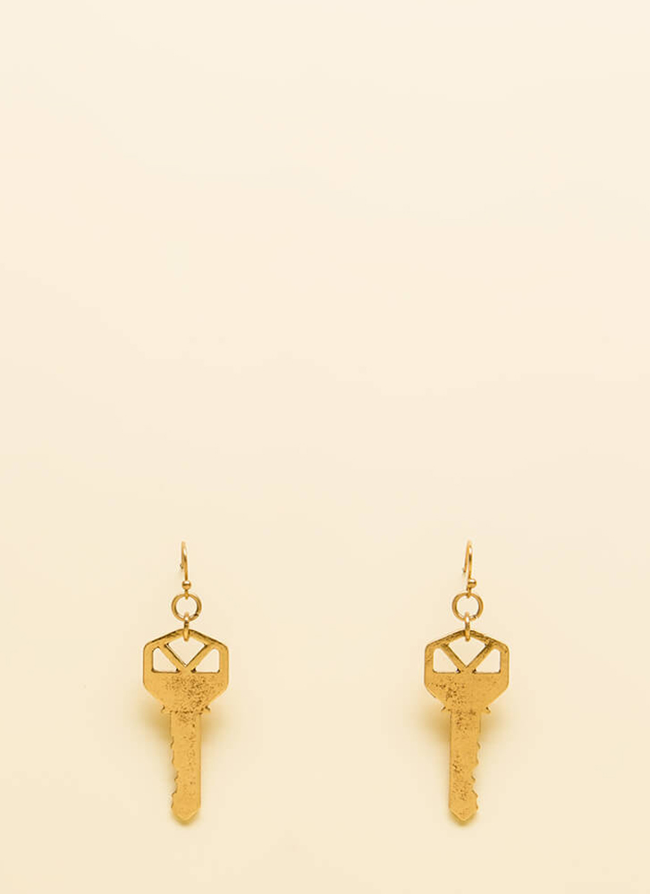 Key To My Heart Distressed Earrings GOLD