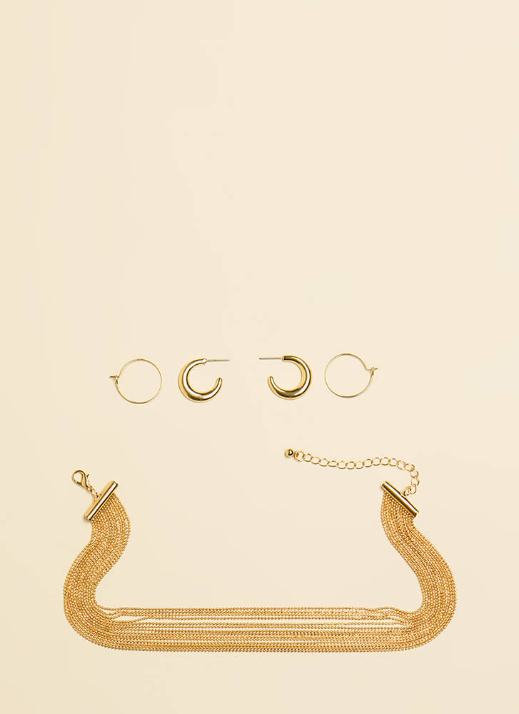 Hoops And Chains Necklace Set GOLD (You Saved $9)
