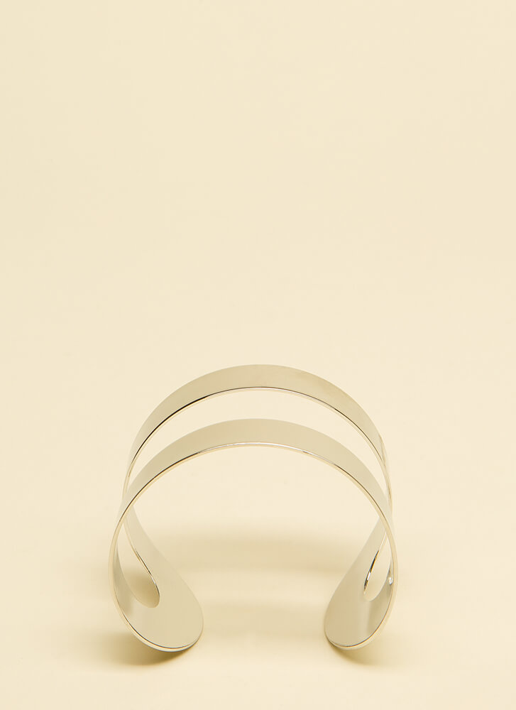 Armed And Ready Cut-Out Cuff Bracelet SILVER