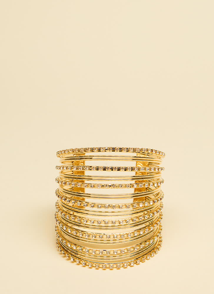 Stacked Bangles Jeweled Cuff Bracelet GOLD