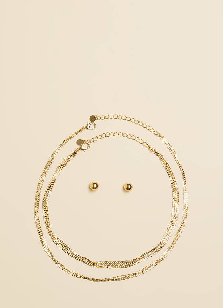 Can't Get Enough Chain Necklace Set GOLD