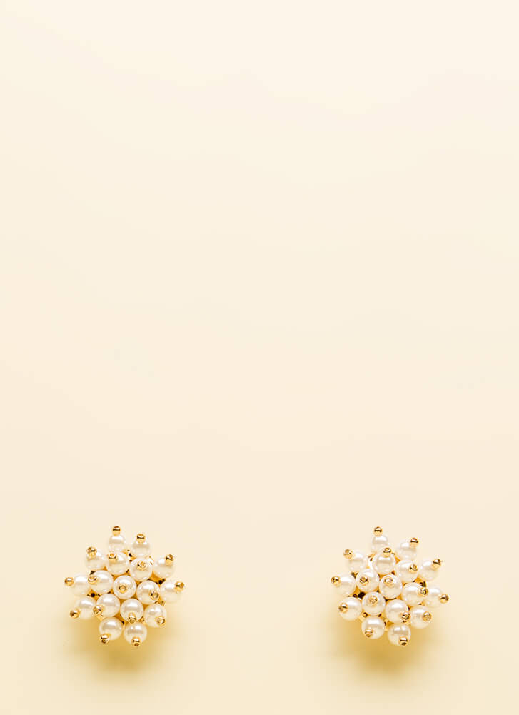 I Could Just Burst Faux Pearl Earrings GOLD