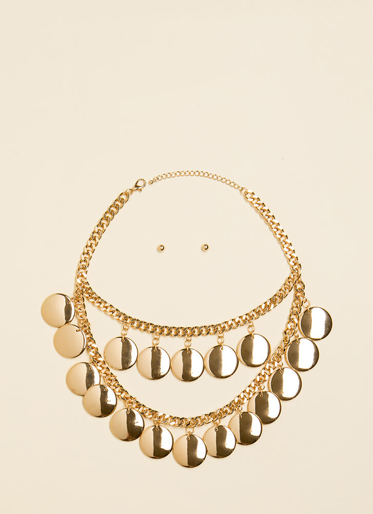 Coin Toss Chain Necklace Set GOLD