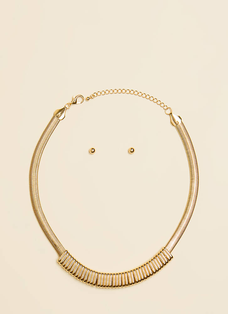 Ring Ring Omega Chain Necklace Set GOLD