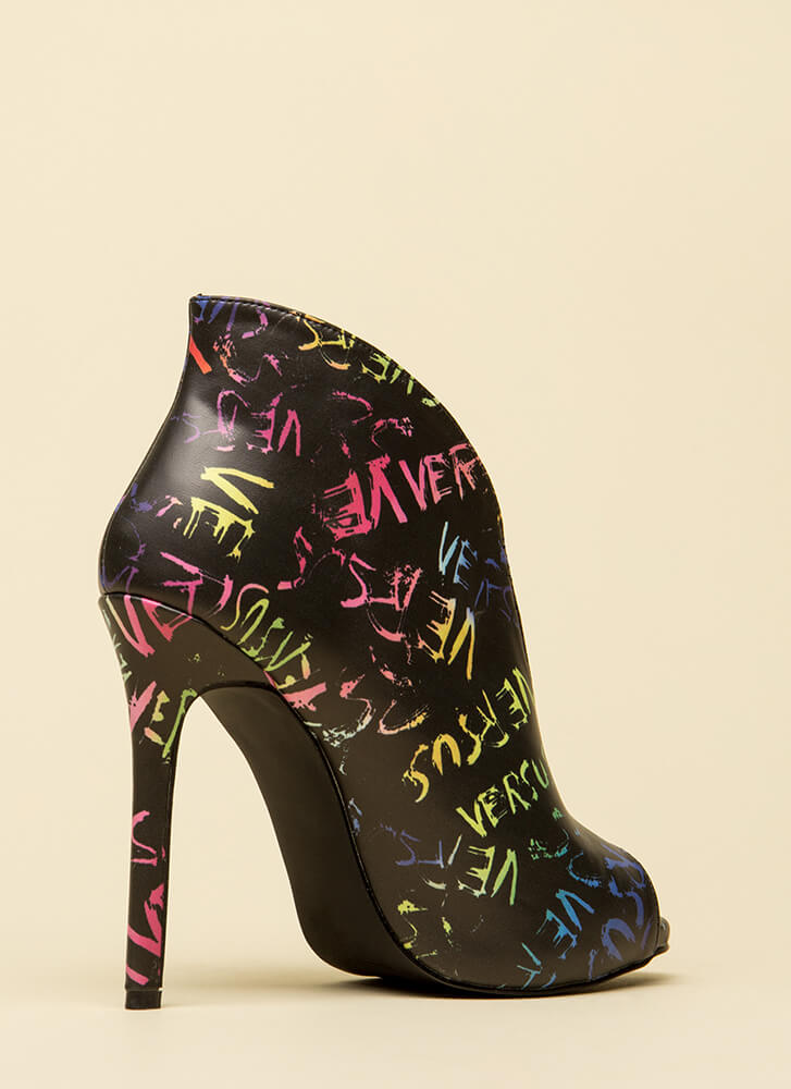 Me Versus You Graffiti Peep-Toe Booties MULTI