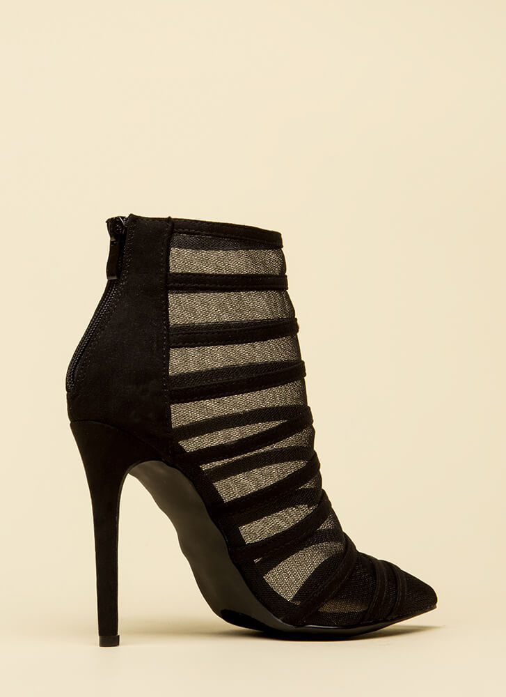 Screen Shot Strappy Mesh Booties  BLACK