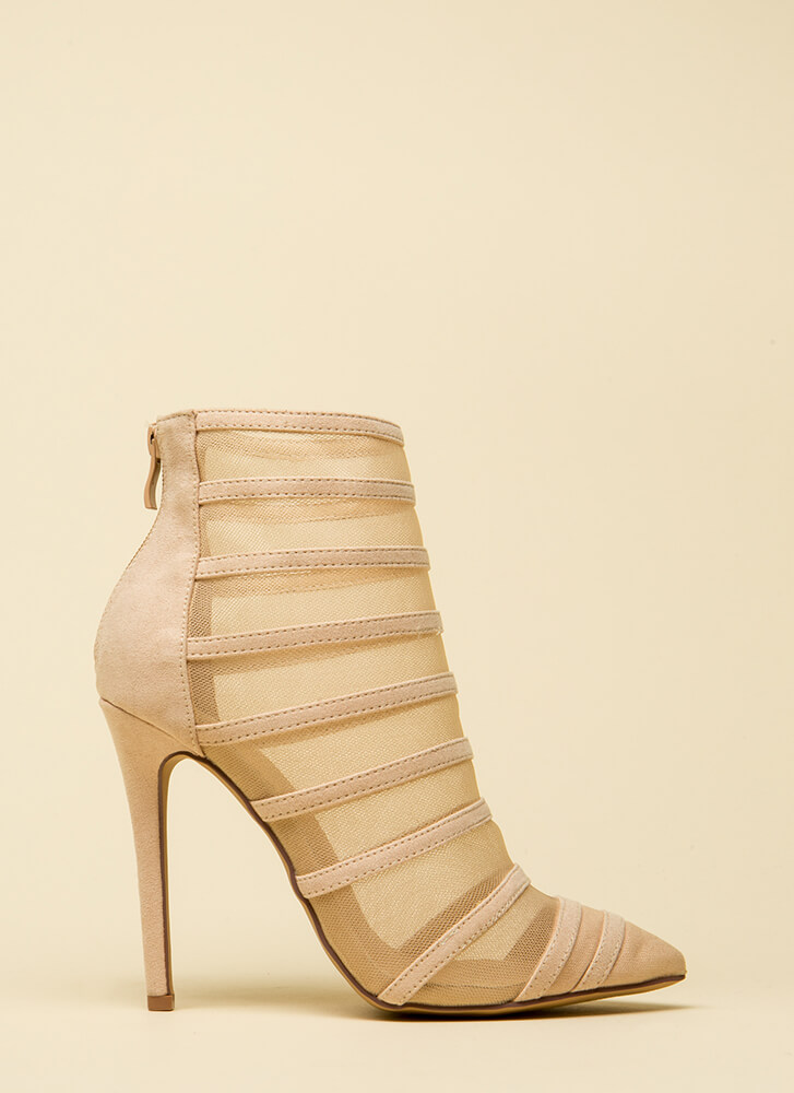 Screen Shot Strappy Mesh Booties  NUDE