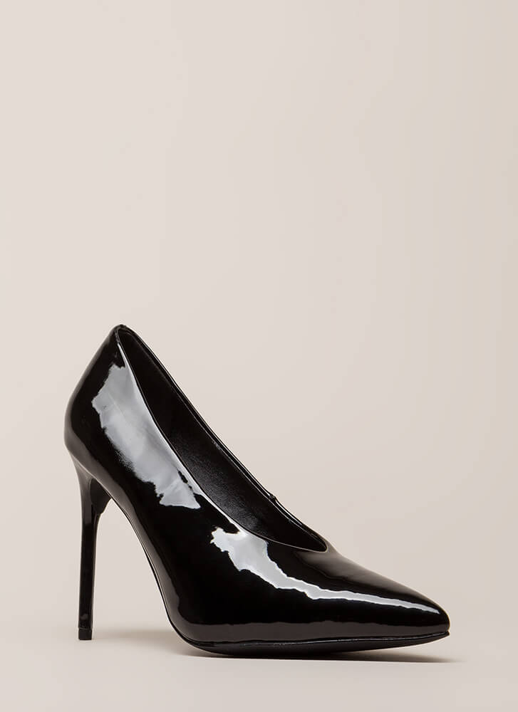 Danger Faux Patent Stiletto Pumps BLACK