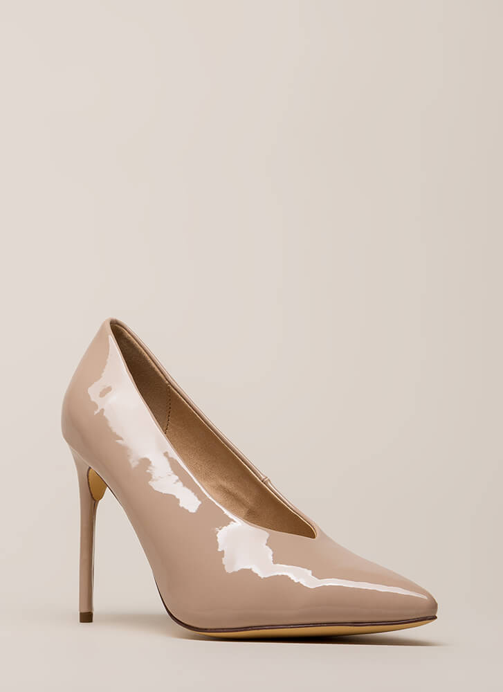Danger Faux Patent Stiletto Pumps NUDE