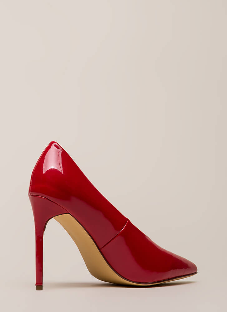 Danger Faux Patent Stiletto Pumps RED