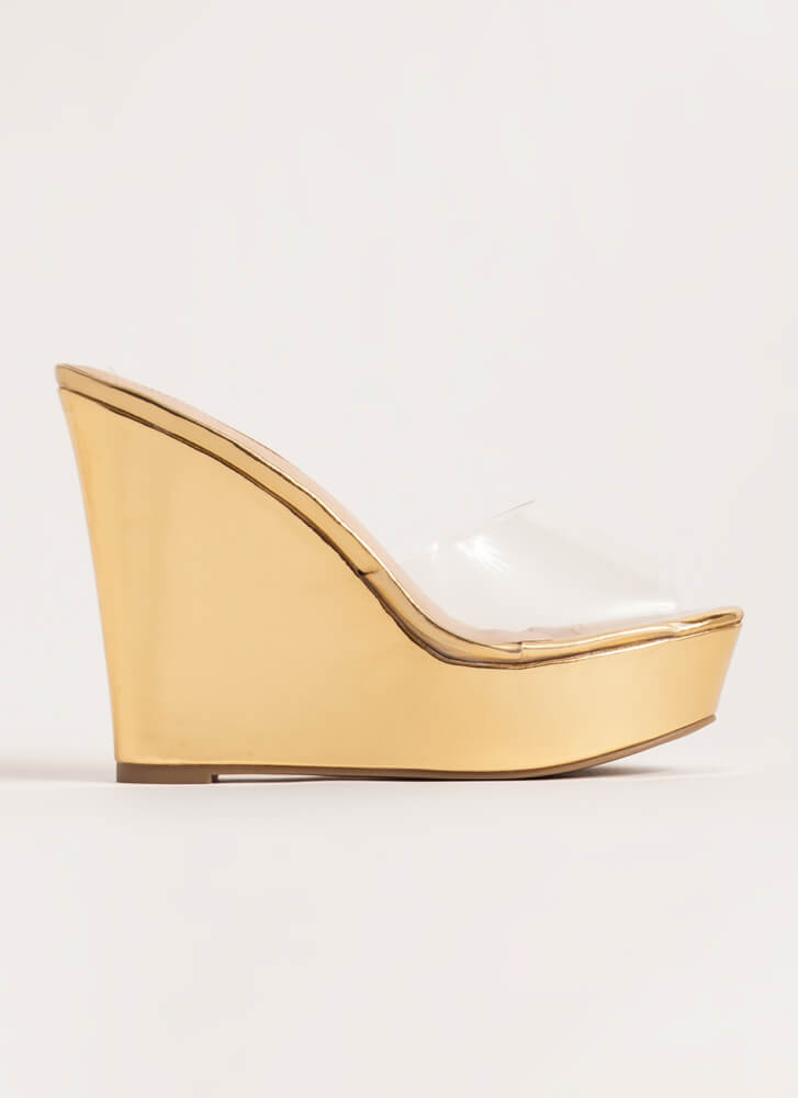 Clearly Must-Have Platform Wedges GOLD