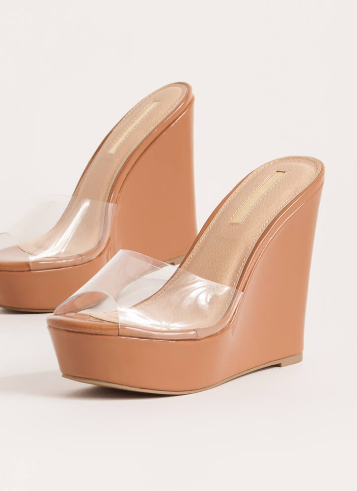 Clearly Must-Have Platform Wedges HONEY