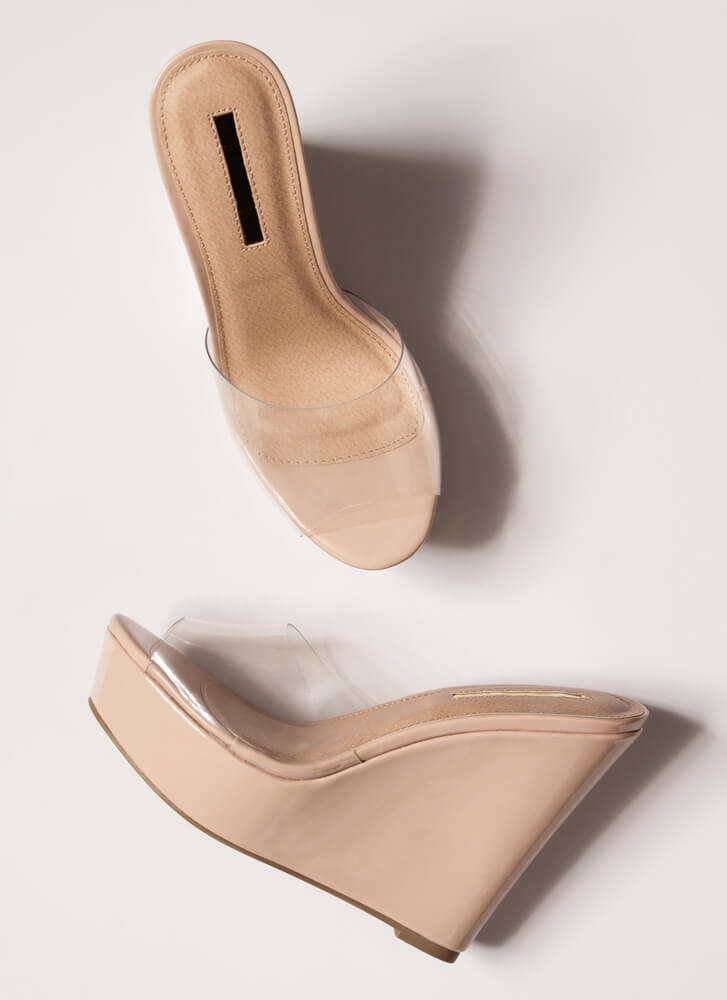 Clearly Must-Have Platform Wedges NUDE