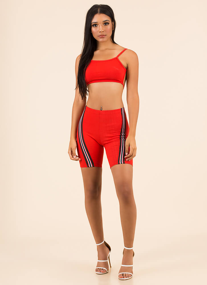 Work It Out Striped Top And Shorts Set RED