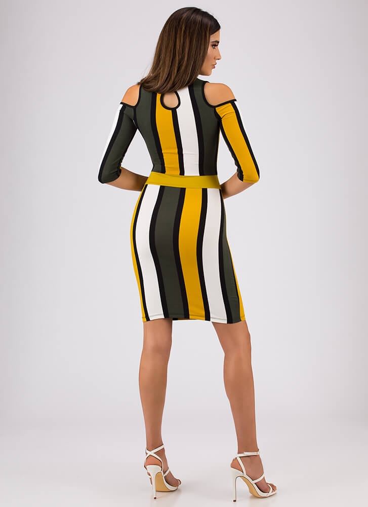 Stripe It Right Cold-Shoulder Dress MUSTARD