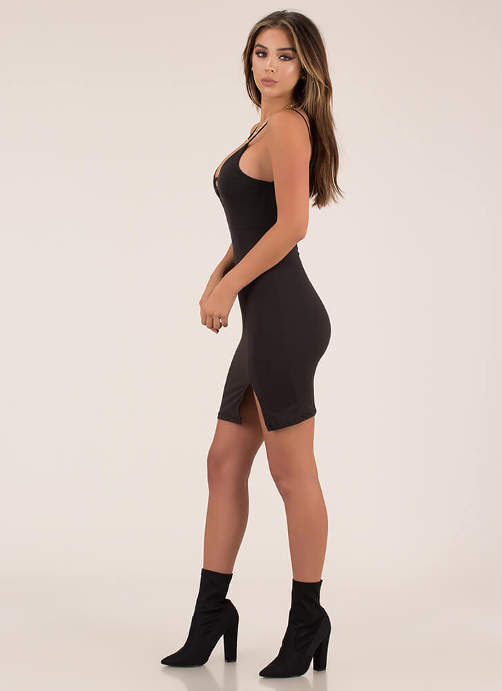 Some Like It Strappy Plunging Midi Dress BLACK