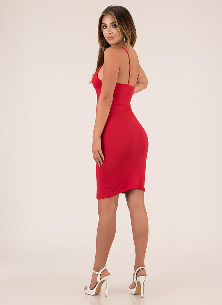 Some Like It Strappy Plunging Midi Dress RED