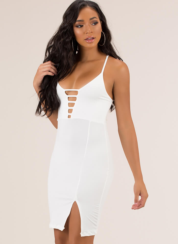 Some Like It Strappy Plunging Midi Dress WHITE