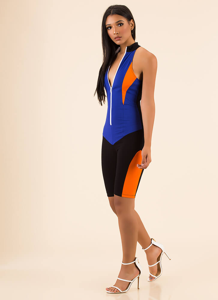 Fast Track Sporty Zip-Front Jumpsuit ROYAL