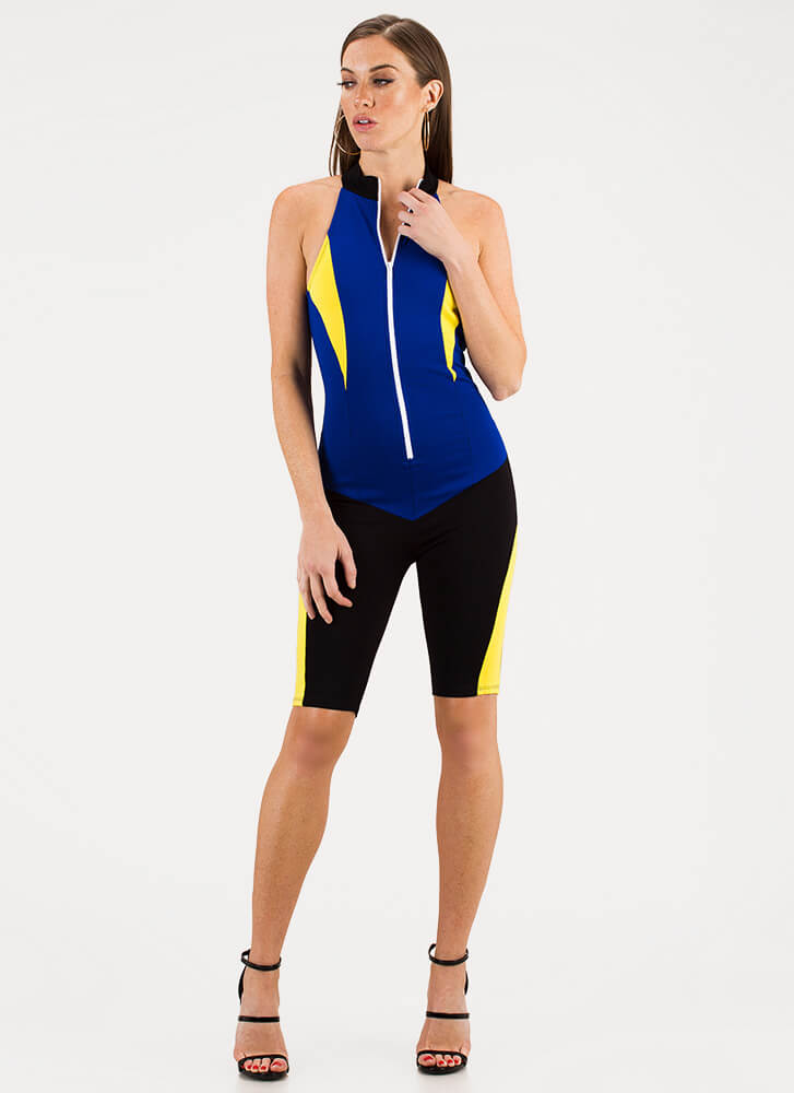 Fast Track Sporty Zip-Front Jumpsuit ROYALYELLOW