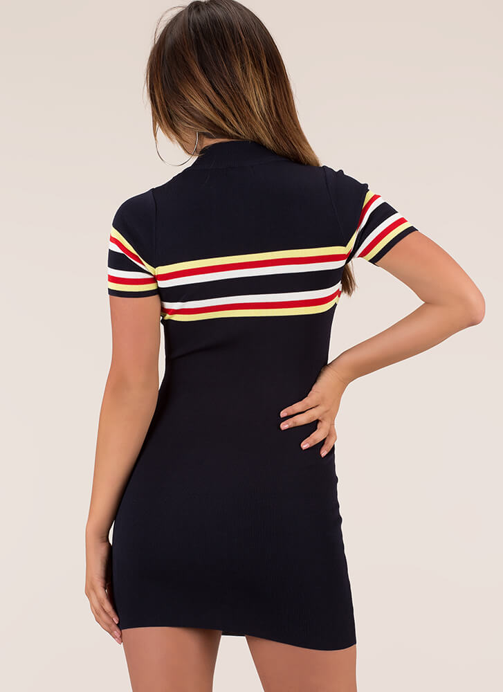 On The Lines Striped Zip-Front Dress NAVY