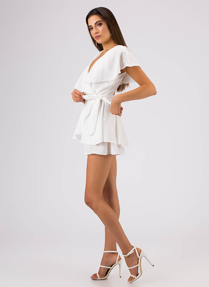Like A Lady Flared Wrapped Romper WHITE