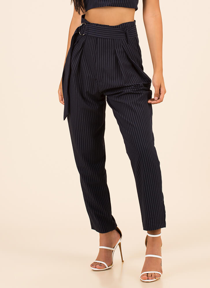 Perfect Pinstripes High-Waisted Trousers NAVY