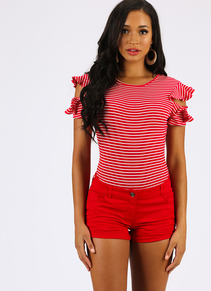 Frilly Climate Ruffled Striped Bodysuit RED