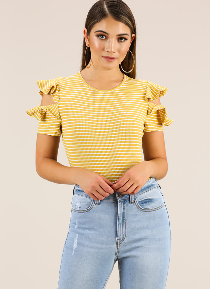 Frilly Climate Ruffled Striped Bodysuit YELLOW