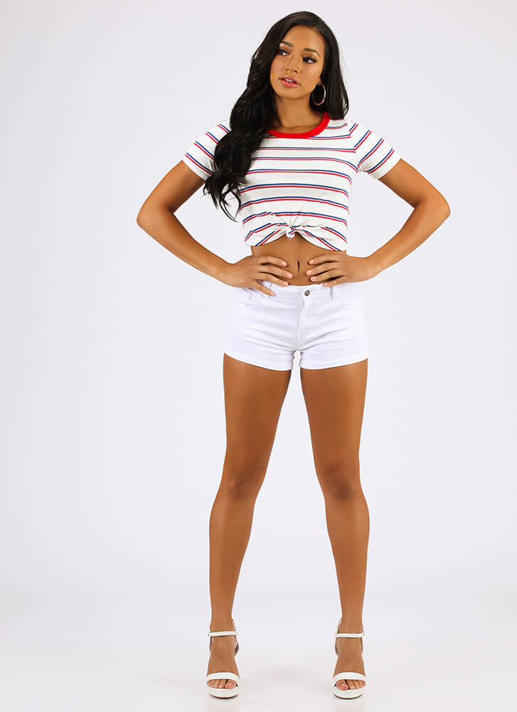 Knot A Big Deal Striped Crop Top RED