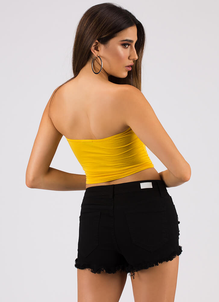 Baby Girl Knotted Graphic Tube Top MUSTARD