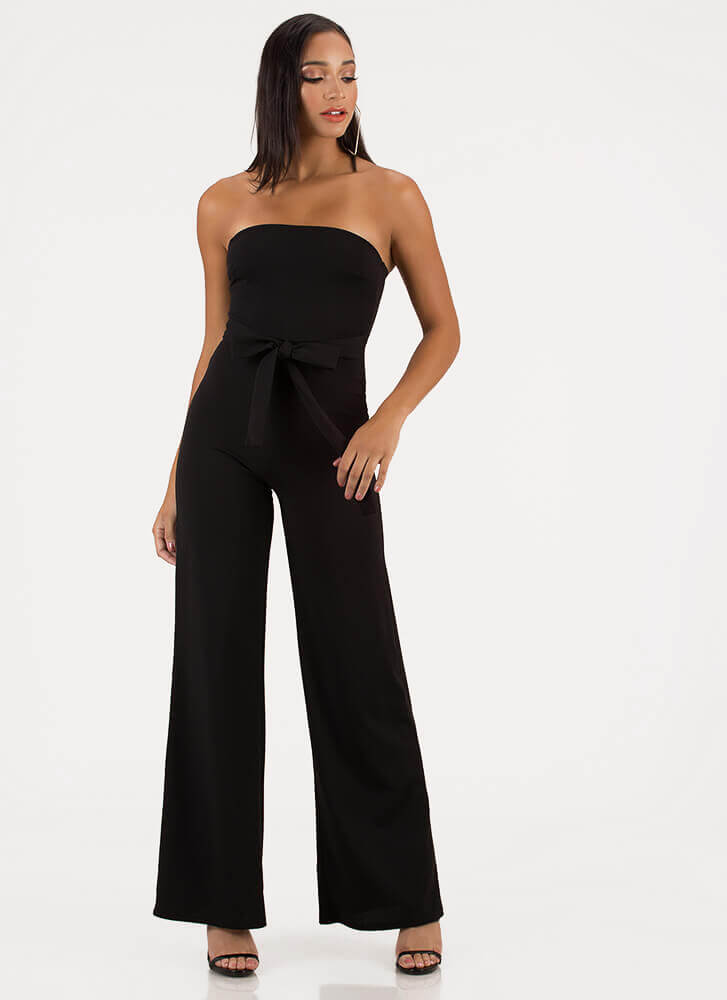 Stunned Strapless Tied Palazzo Jumpsuit BLACK