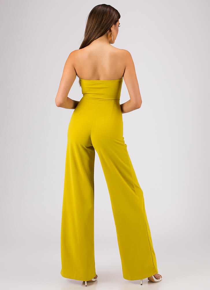 Stunned Strapless Tied Palazzo Jumpsuit MUSTARD