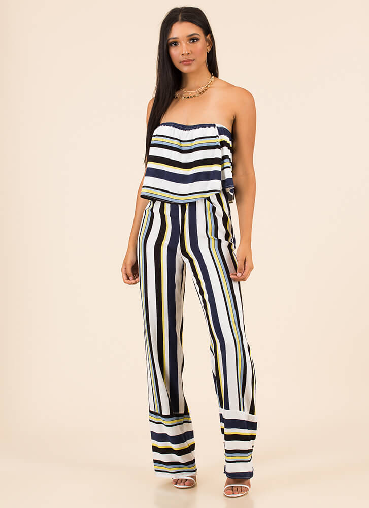 New Line Striped Strapless Jumpsuit BLUE