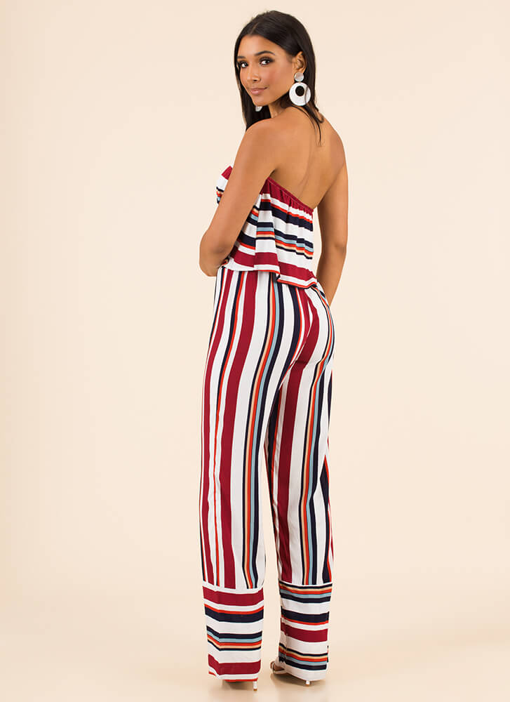 New Line Striped Strapless Jumpsuit RED