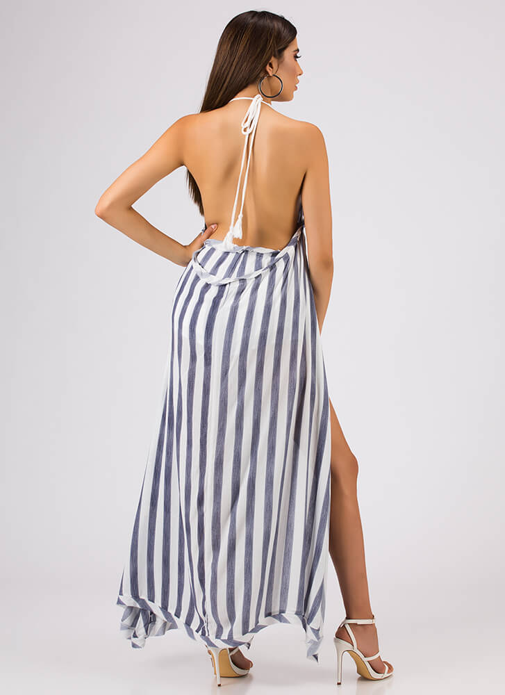 On A Boat Striped Two-Piece Maxi Set BLUE
