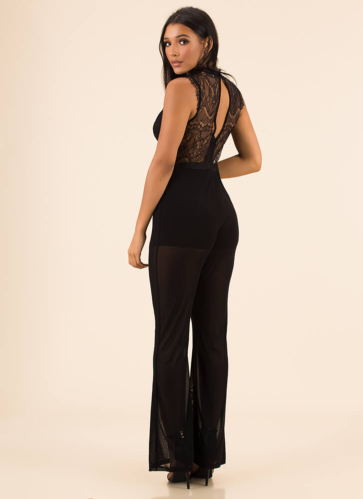 Lace Mesh And Straps Sheer Jumpsuit BLACK