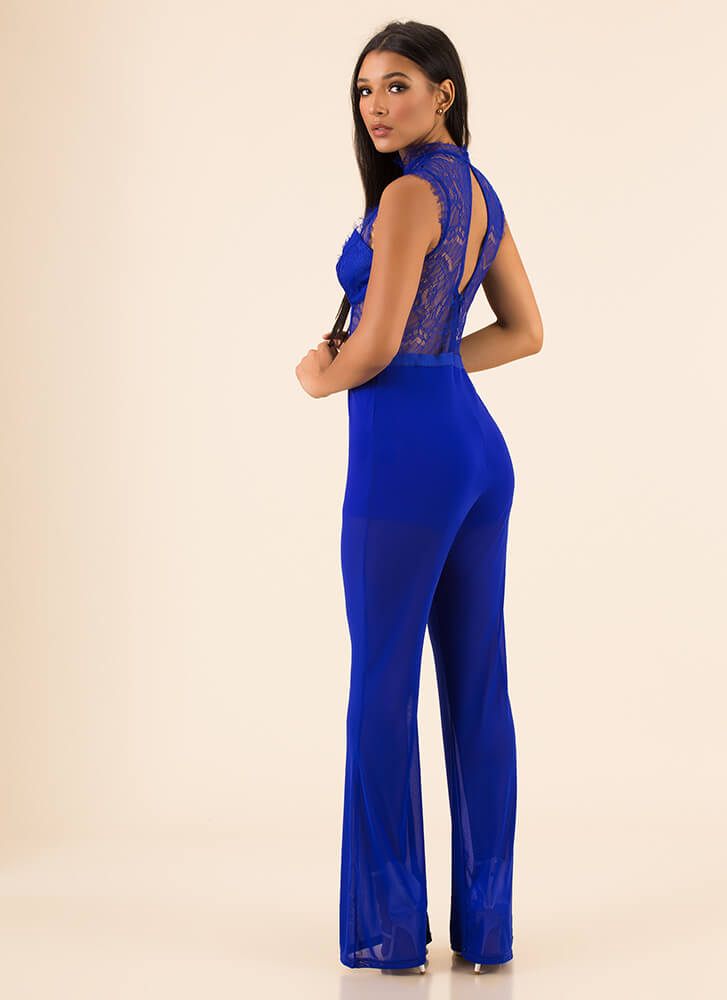 Lace Mesh And Straps Sheer Jumpsuit ROYAL