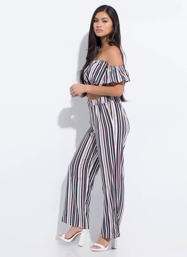 Get Comfortable Striped Top And Pant Set NAVYSTRIPE