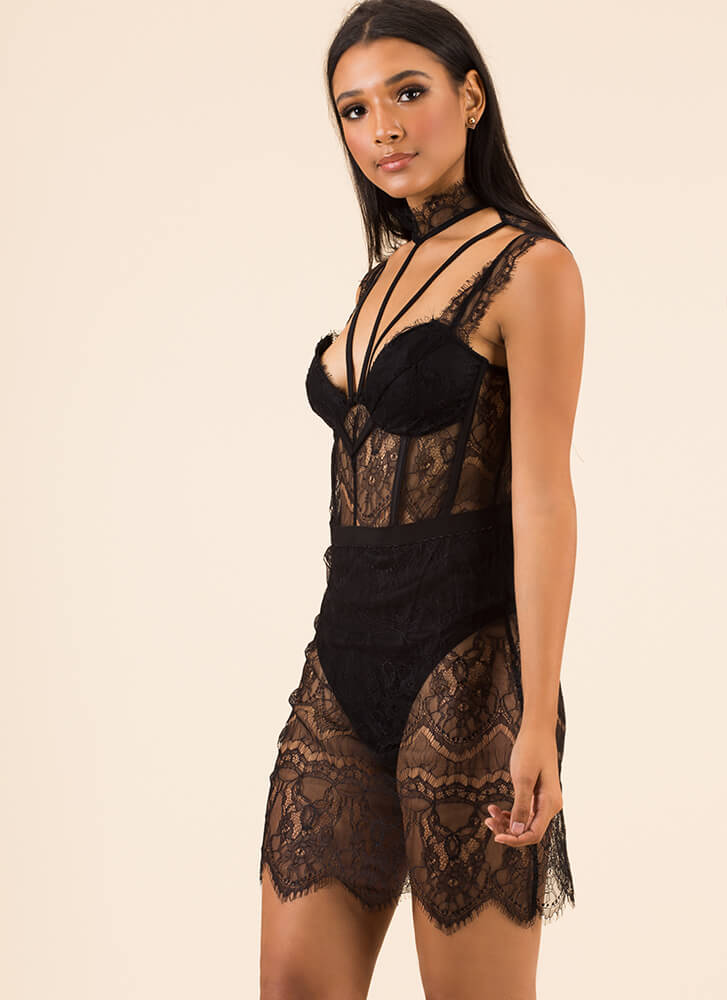 For The Love Of Lace Strappy Dress BLACK