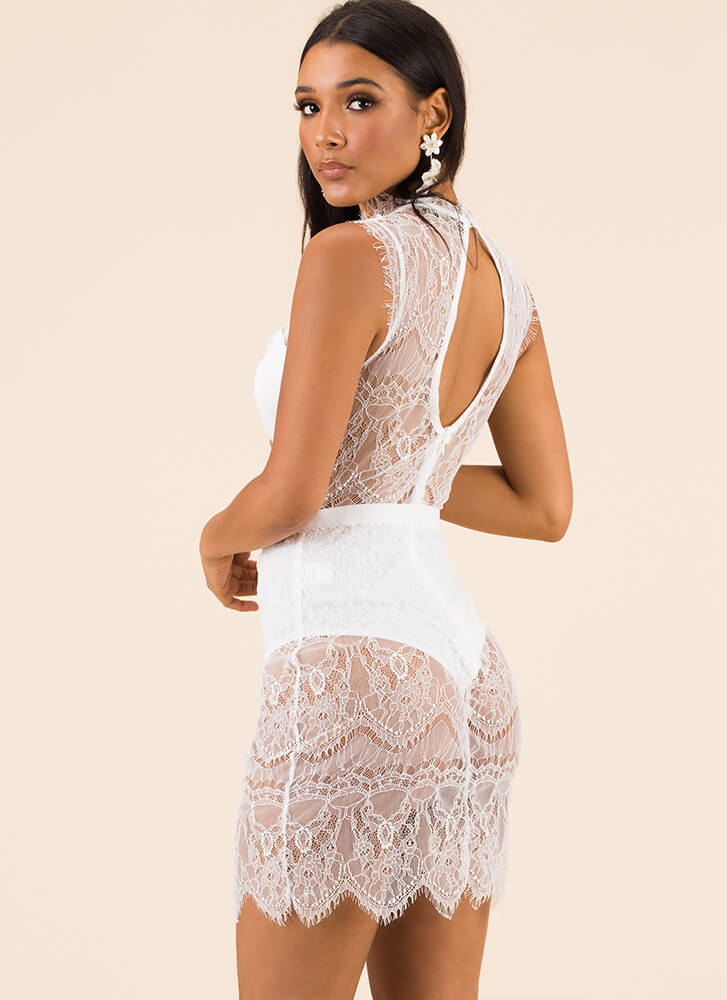 For The Love Of Lace Strappy Dress WHITE