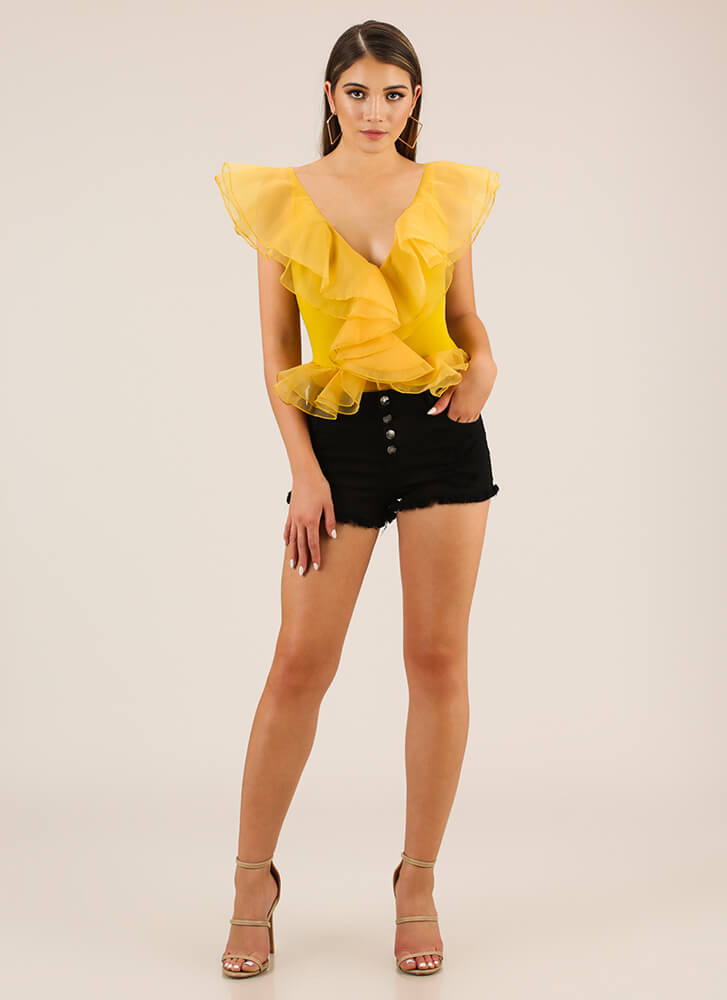 Drama For Your Mama Ruffled Bodysuit MUSTARD