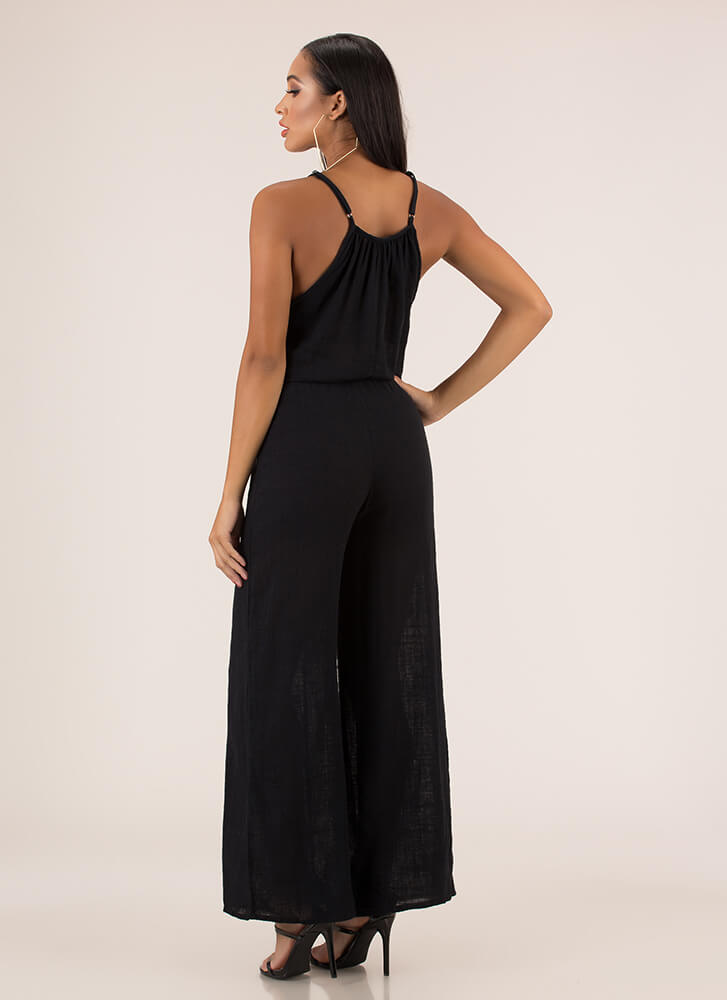 Casual Cool Cotton Palazzo Jumpsuit BLACK