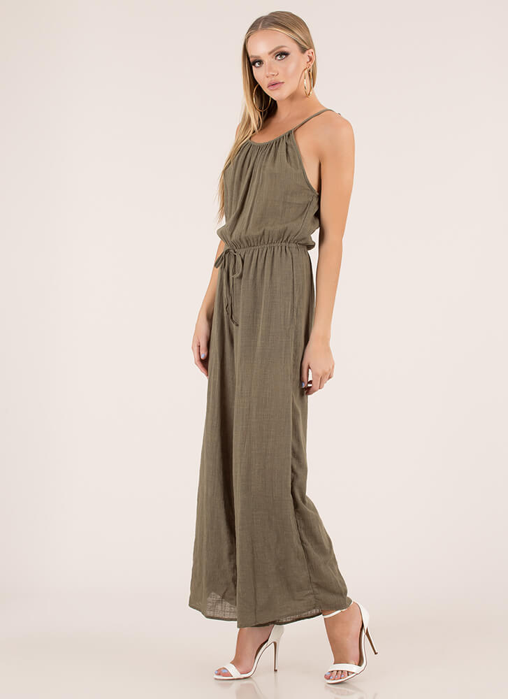Casual Cool Cotton Palazzo Jumpsuit OLIVE