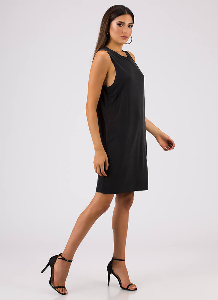 Shift In The Atmosphere Tank Dress BLACK