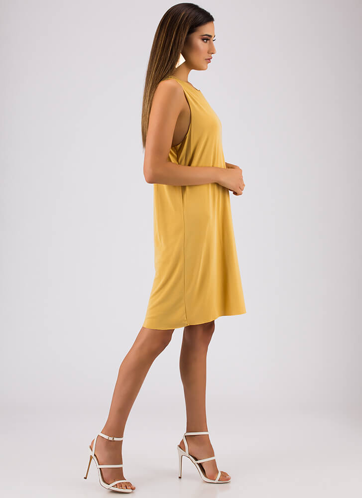 Shift In The Atmosphere Tank Dress MUSTARD