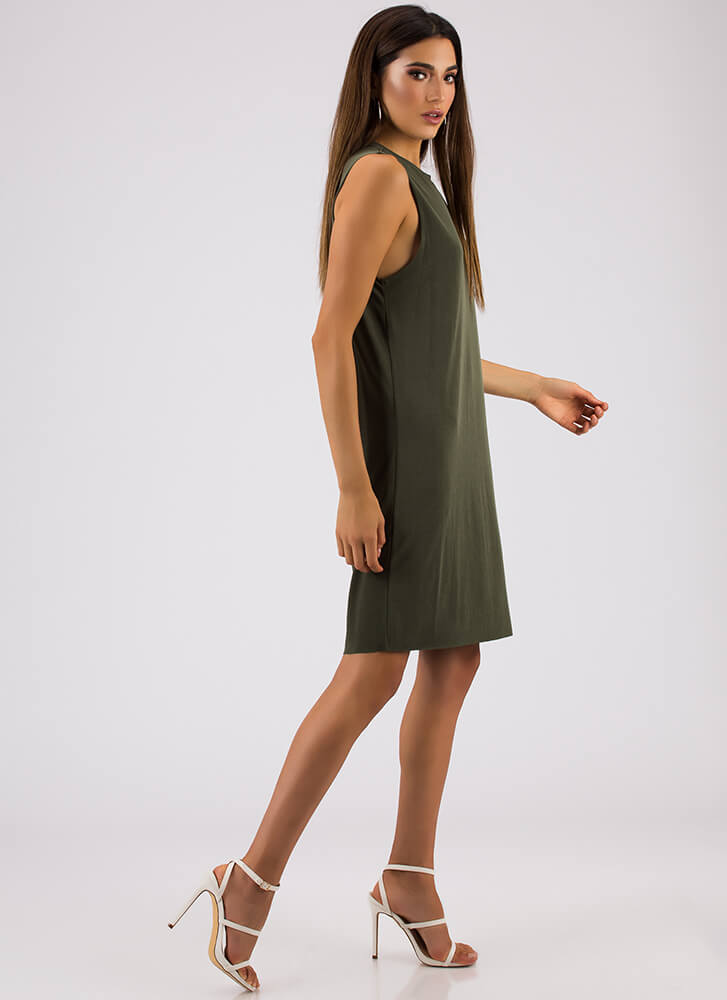 Shift In The Atmosphere Tank Dress OLIVE