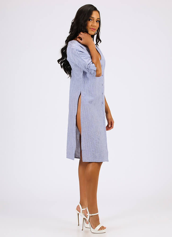Days Of Summer Slit Pinstriped Tunic BLUE
