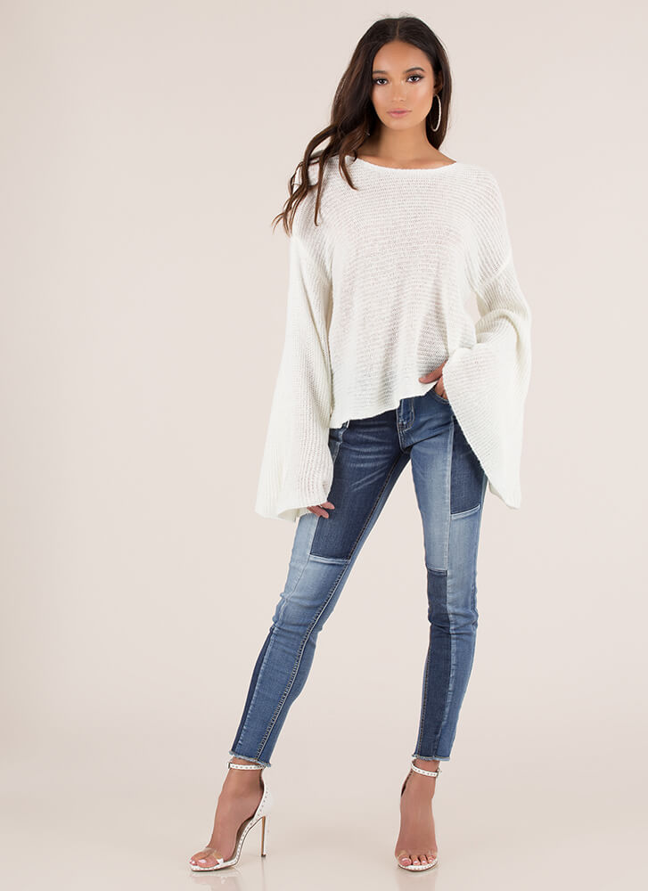Wing Woman Flared Sleeve Sweater OFFWHITE